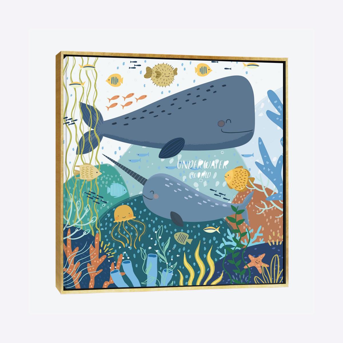 لوحات جدارية - الحوت الأزرق مع الكائنات البحرية في المحيط - لوحات جدارية - لوحات فنية مميزة - لوحة حائط مفعمة بالوان الطفولة والأشكال المحببة للأطفال حيث تحوي تناثر الألوان المائية على كانفس مشدود عالي الجودة تعطي شعور السلام والفن الراقي مع بصمة الذوق الرفيع الذي يتناسب مع جميع أثاثكم