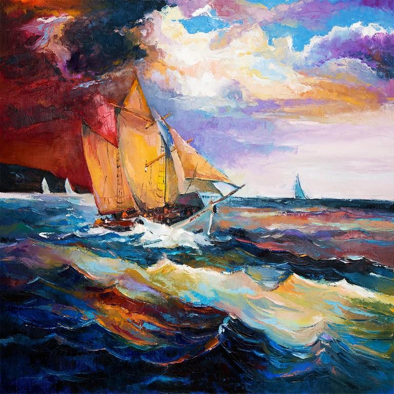 لوحات جدارية - مراكب وسط البحر - لوحات جدارية - كانفسي - لوحة فنية جدارية لمظاهر طبيعية بالألوان الجذابة التي تعطي طاقة حيوية وتفاؤل تتناسب مع جميع أثاثكم شاهد المزيد في متجر كانفسي