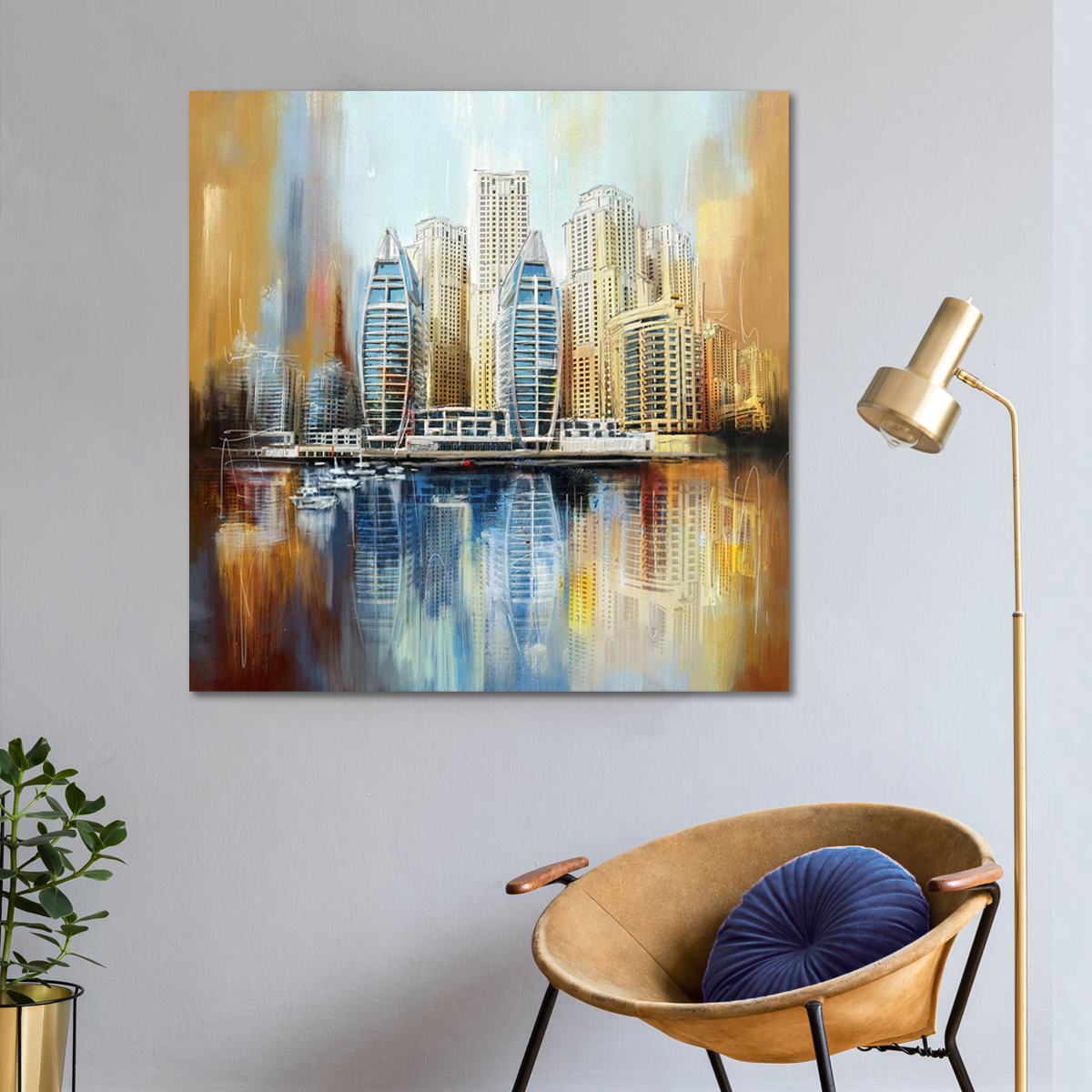 لوحات جدارية - انعكاس لمدينة دبي على الماء - لوحات جدارية - كانفسي - لوحة فنية جدارية مدن عالمية بالألوان الجذابة التي تعطي طاقة حيوية وتفاؤل تتناسب مع جميع أثاثكم شاهد المزيد في متجر كانفسي
