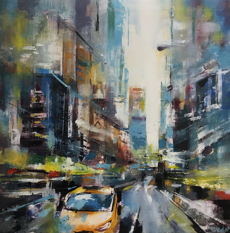 لوحات جدارية - لوحة لشارع في نيويورك بالألوان المائية - لوحات جدارية - كانفسي - لوحة فنية جدارية مدن عالمية بالألوان الجذابة التي تعطي طاقة حيوية وتفاؤل تتناسب مع جميع أثاثكم شاهد المزيد في متجر كانفسي
