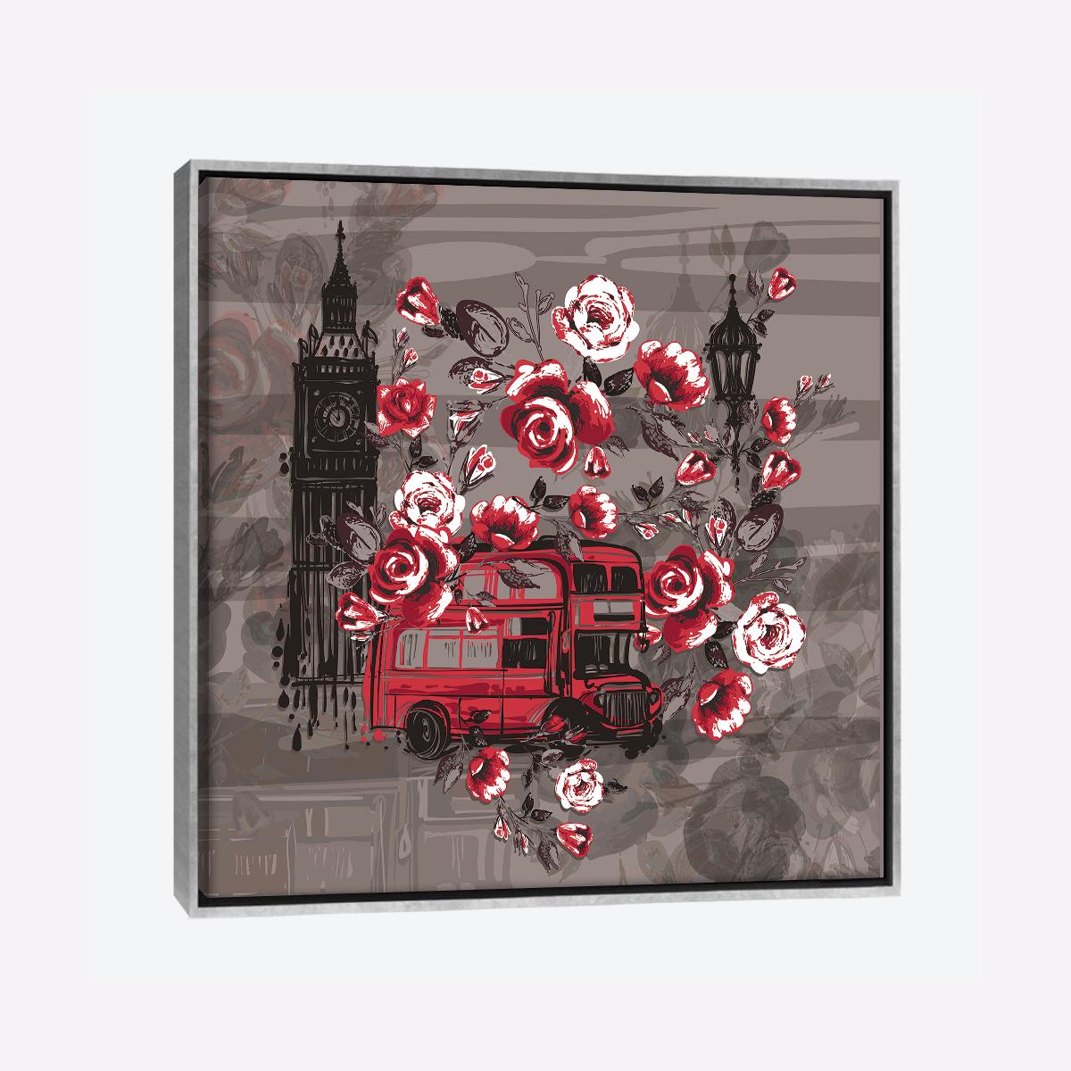 لوحات جدارية - معالم من لندن مع الورود باللون الأحمر والاسود - لوحات جدارية - كانفسي - لوحة فنية جدارية مدن عالمية بالألوان الجذابة التي تعطي طاقة حيوية وتفاؤل تتناسب مع جميع أثاثكم شاهد المزيد في متجر كانفسي