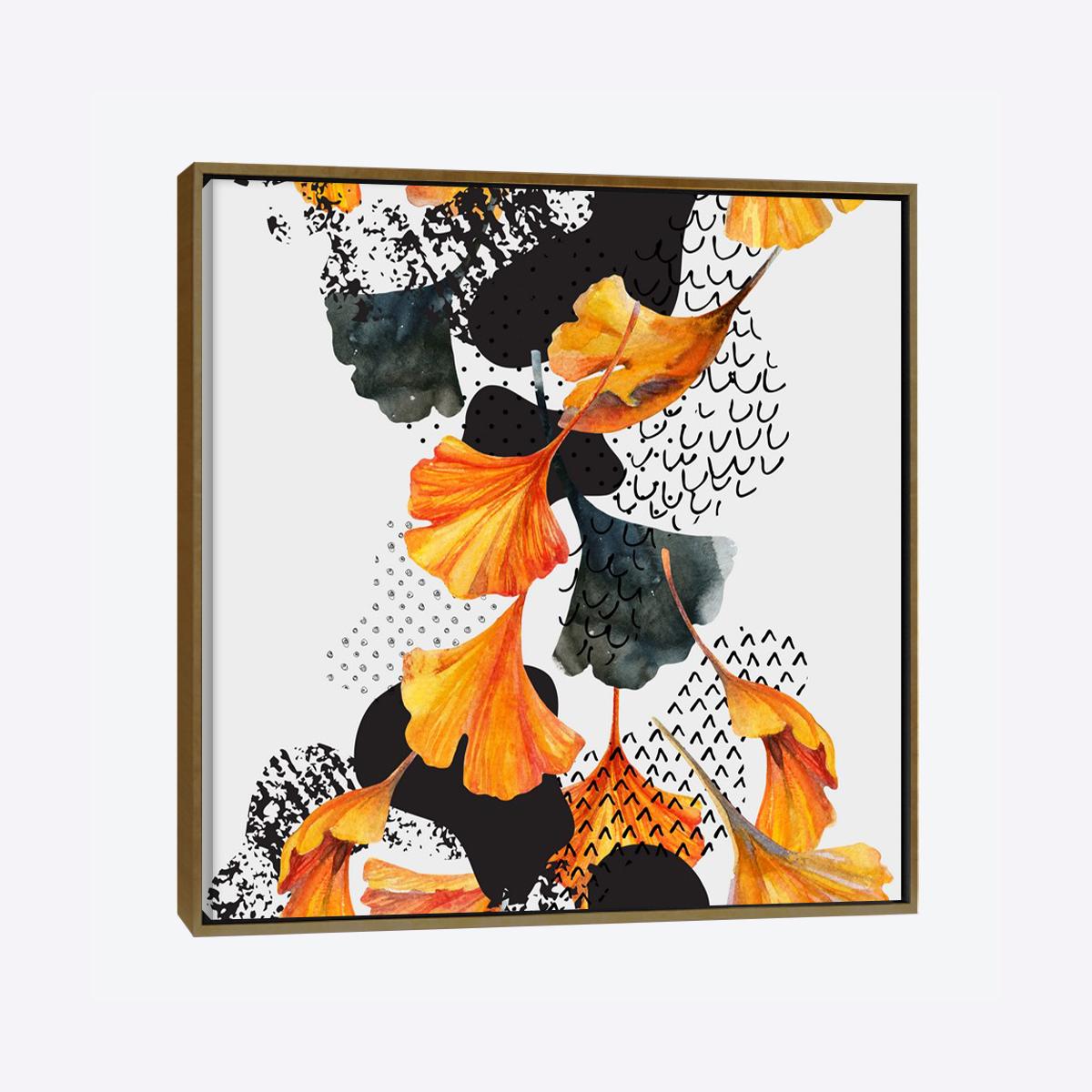 لوحات جدارية - أوراق الجنكه باللونين الأسود والبرتقالي - لوحات جدارية - لوحات فنية مميزة - لوحة حائط مفعمة بألوان الأزهار والروح الطبيعية التي تبعثها لوحات الأزهار الفنية حيث تعطي سلام وذوق رفيع يتناسب مع جميع أثاثكم
