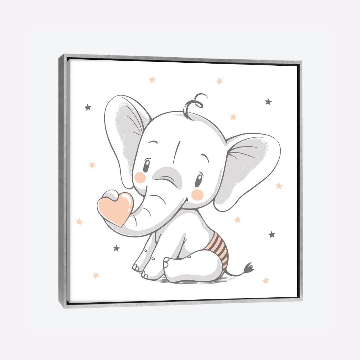 لوحات جدارية - الفيل الصغير يحمل قلب الحب - لوحات جدارية - لوحات فنية مميزة - لوحة حائط مفعمة بالوان الطفولة والأشكال المحببة للأطفال حيث تحوي تناثر الألوان المائية على كانفس مشدود عالي الجودة تعطي شعور السلام والفن الراقي مع بصمة الذوق الرفيع الذي يتناسب مع جميع أثاثكم