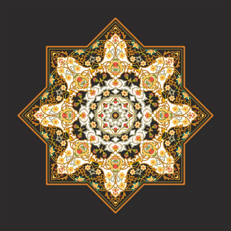 لوحات جدارية - زخرفة إسلامية بالوان متعددة بشكل مثمن - لوحات جدارية - لوحات فنية مميزة - لوحة جدارية اسلامية بطابع عربي يعود إلى الحقبة الفنية الإسلامية بالألوان الجذابة التي تعطي طاقة وجمال يتناسب مع جميع أثاثكم