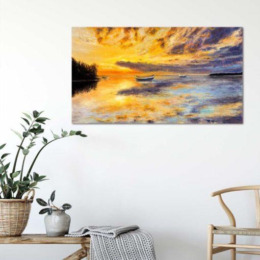 لوحات جدارية - قارب في البحر عند غروب الشمس - لوحات جدارية - كانفسي - لوحة فنية جدارية لوحات طبيعة بالألوان الجذابة التي تعطي طاقة حيوية وتفاؤل تتناسب مع جميع أثاثكم شاهد المزيد في متجر كانفسي
