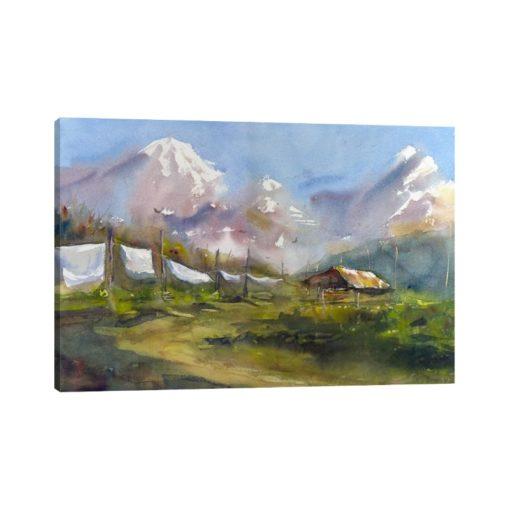 لوحات جدارية - بيت قروي خلف الجبال مع الرياح - لوحات جدارية - كانفسي - لوحة فنية جدارية لوحات طبيعة بالألوان الجذابة التي تعطي طاقة حيوية وتفاؤل تتناسب مع جميع أثاثكم شاهد المزيد في متجر كانفسي
