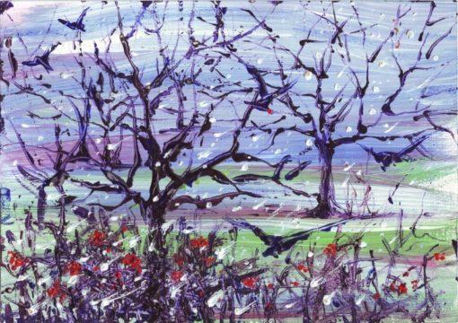 لوحات جدارية - مشهد لأشجار خريفية مع غربان - لوحات جدارية - كانفسي - لوحة فنية جدارية لوحات طبيعة بالألوان الجذابة التي تعطي طاقة حيوية وتفاؤل تتناسب مع جميع أثاثكم شاهد المزيد في متجر كانفسي